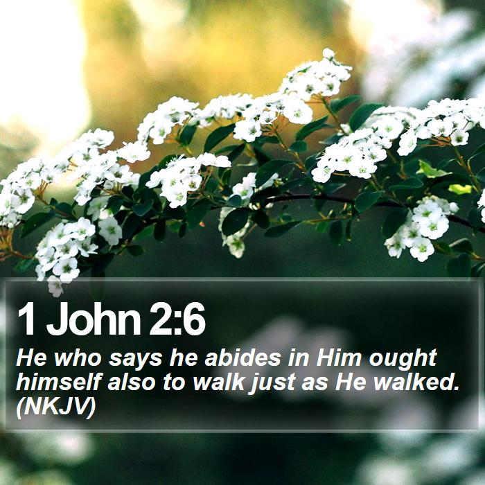 1 John 2:6 - He who says he abides in Him ought himself also to walk just as He walked. (NKJV)