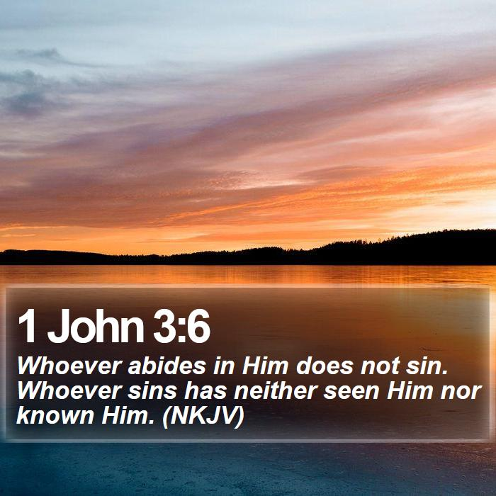 1 John 3:6 - Whoever abides in Him does not sin. Whoever sins has neither seen Him nor known Him. (NKJV)