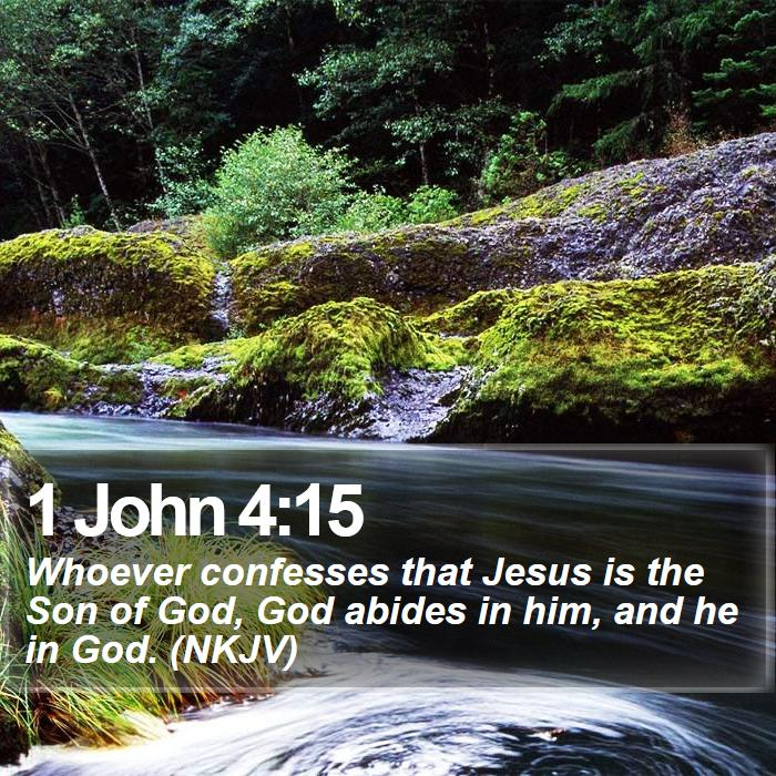 1 John 4:15 - Whoever confesses that Jesus is the Son of God, God abides in him, and he in God. (NKJV)