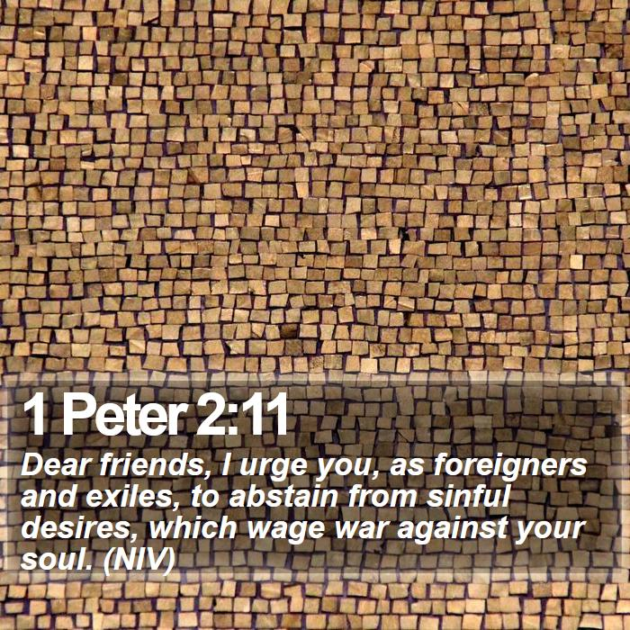 1 Peter 2:11 - Dear friends, I urge you, as foreigners and exiles, to abstain from sinful desires, which wage war against your soul. (NIV)