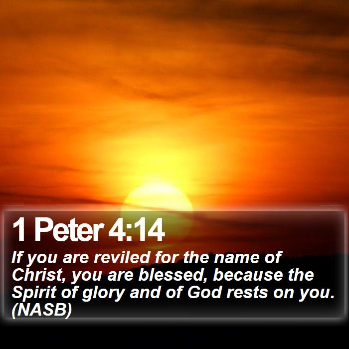 1 Peter 4:14 - If you are reviled for the name of Christ, you are blessed, because the Spirit of glory and of God rests on you. (NASB)