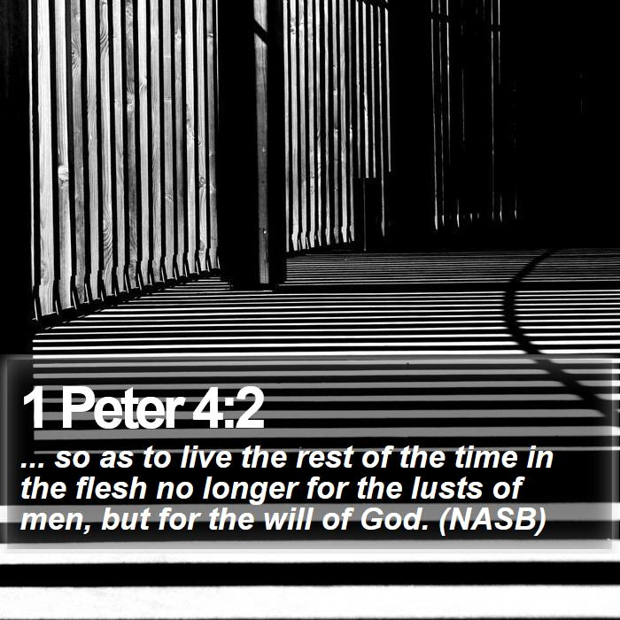 1 Peter 4:2 - ... so as to live the rest of the time in the flesh no longer for the lusts of men, but for the will of God. (NASB)