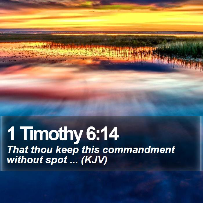 1 Timothy 6:14 - That thou keep this commandment without spot ... (KJV)