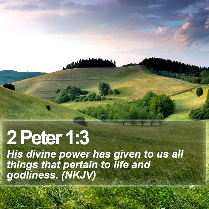 2 Peter 1:3 - His divine power has given to us all things that pertain to life and godliness. (NKJV)