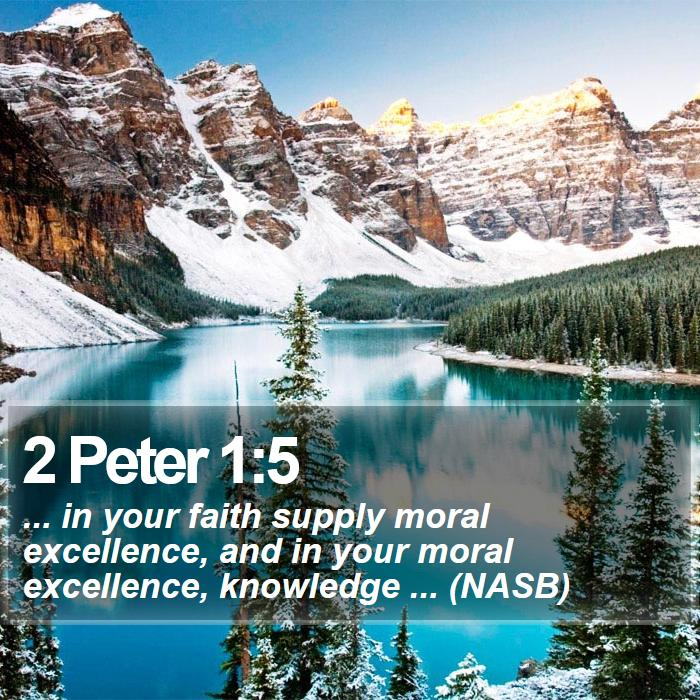 2 Peter 1:5 - ... in your faith supply moral excellence, and in your moral excellence, knowledge ... (NASB)