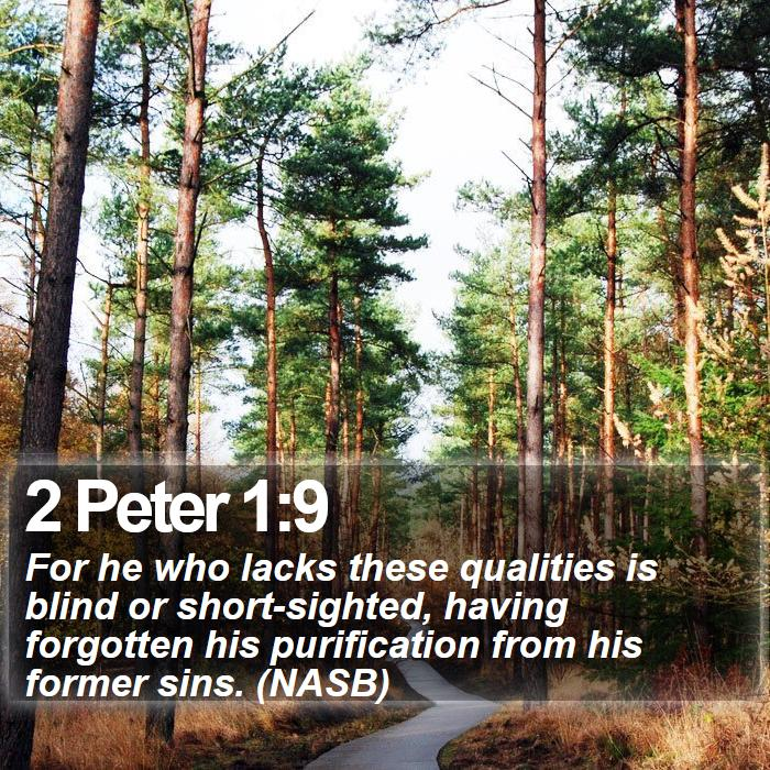 2 Peter 1:9 - For he who lacks these qualities is blind or short-sighted, having forgotten his purification from his former sins. (NASB)