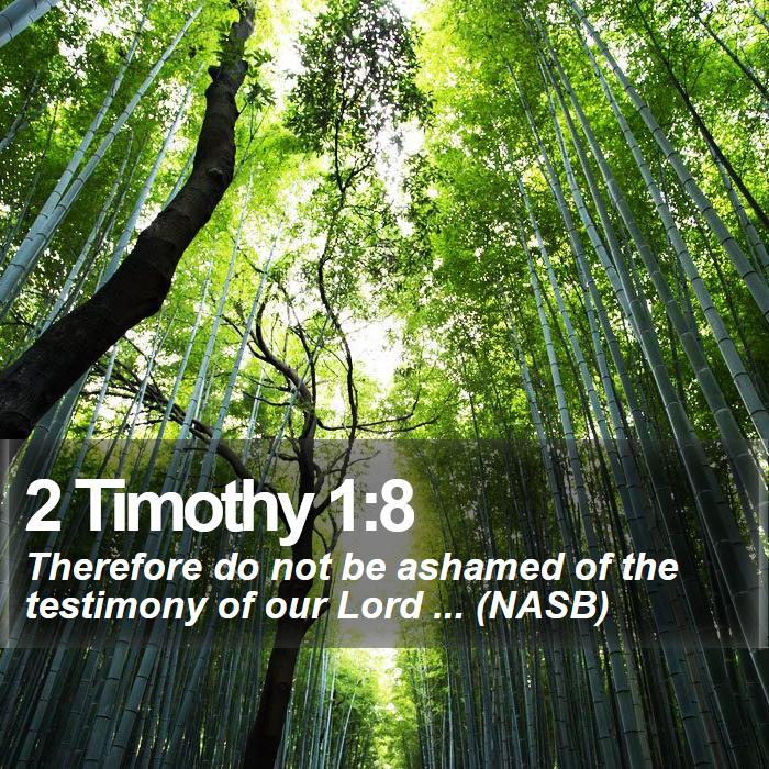 2 Timothy 1:8 - Therefore do not be ashamed of the testimony of our Lord ... (NASB)