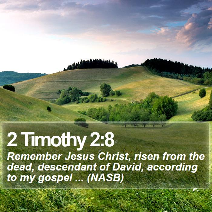 2 Timothy 2:8 - Remember Jesus Christ, risen from the dead, descendant of David, according to my gospel ... (NASB)