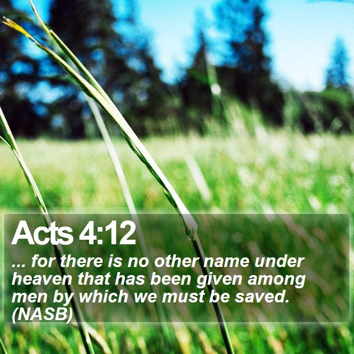 Acts 4:12 - ... for there is no other name under heaven that has been given among men by which we must be saved. (NASB)