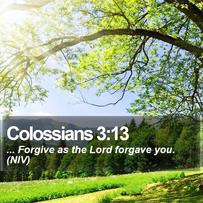 Colossians 3:13 - ... Forgive as the Lord forgave you. (NIV)