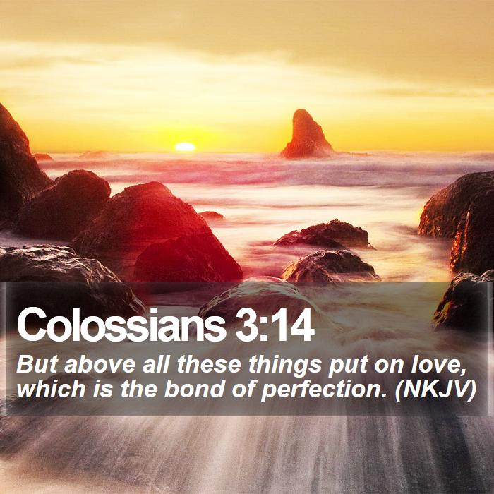 Colossians 3:14 - But above all these things put on love, which is the bond of perfection. (NKJV)