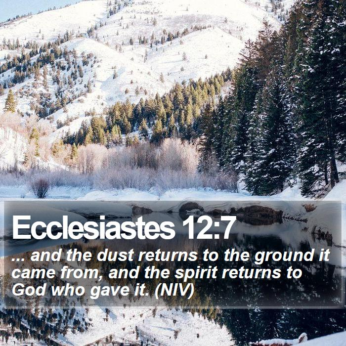 Ecclesiastes 12:7 -  ... and the dust returns to the ground it came from, and the spirit returns to God who gave it. (NIV)