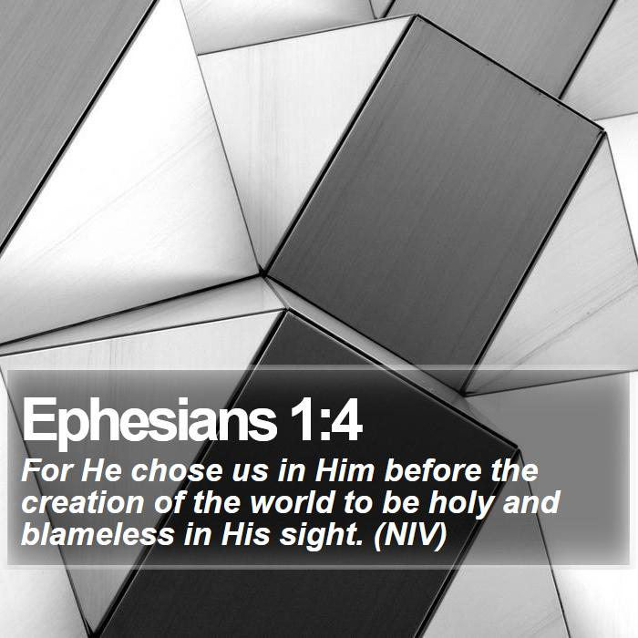 Ephesians 1:4 - For He chose us in Him before the creation of the world to be holy and blameless in His sight. (NIV)