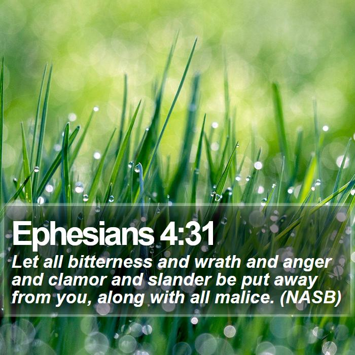 Ephesians 4:31 - Let all bitterness and wrath and anger and clamor and slander be put away from you, along with all malice. (NASB)