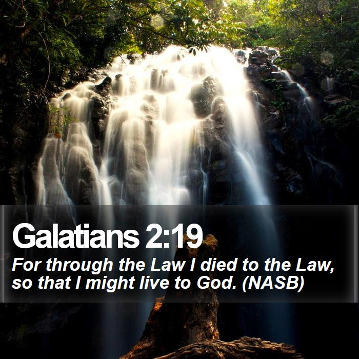 Galatians 2:19 - For through the Law I died to the Law, so that I might live to God. (NASB)