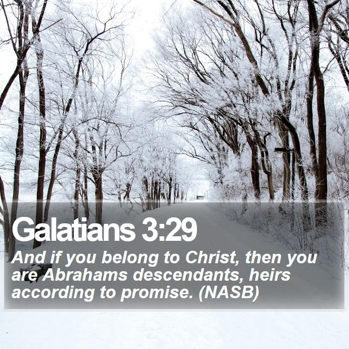 Galatians 3:29 - And if you belong to Christ, then you are Abrahams descendants, heirs according to promise. (NASB)