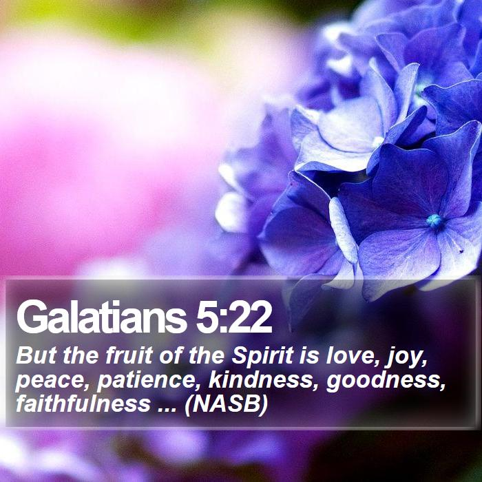Galatians 5:22 - But the fruit of the Spirit is love, joy, peace, patience, kindness, goodness, faithfulness ... (NASB)