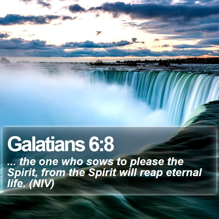 Galatians 6:8 - ... the one who sows to please the Spirit, from the Spirit will reap eternal life. (NIV)
