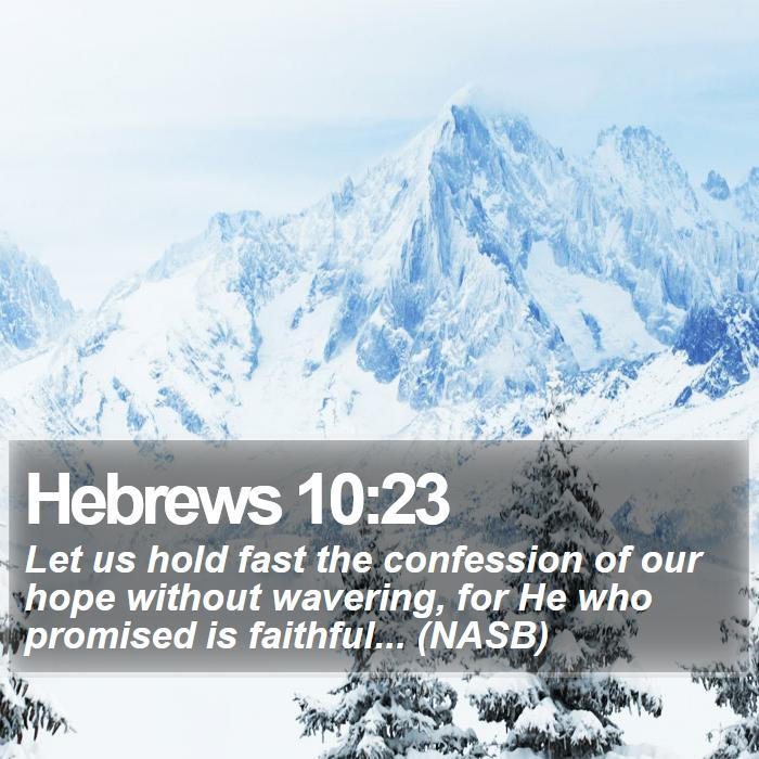 Hebrews 10:23 - Let us hold fast the confession of our hope without wavering, for He who promised is faithful... (NASB)