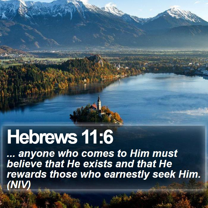 Hebrews 11:6 -  ... anyone who comes to Him must believe that He exists and that He rewards those who earnestly seek Him. (NIV)