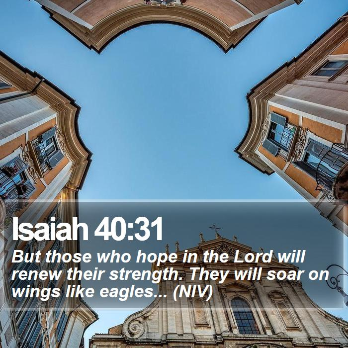 Isaiah 40:31 - But those who hope in the Lord will renew their strength. They will soar on wings like eagles... (NIV)