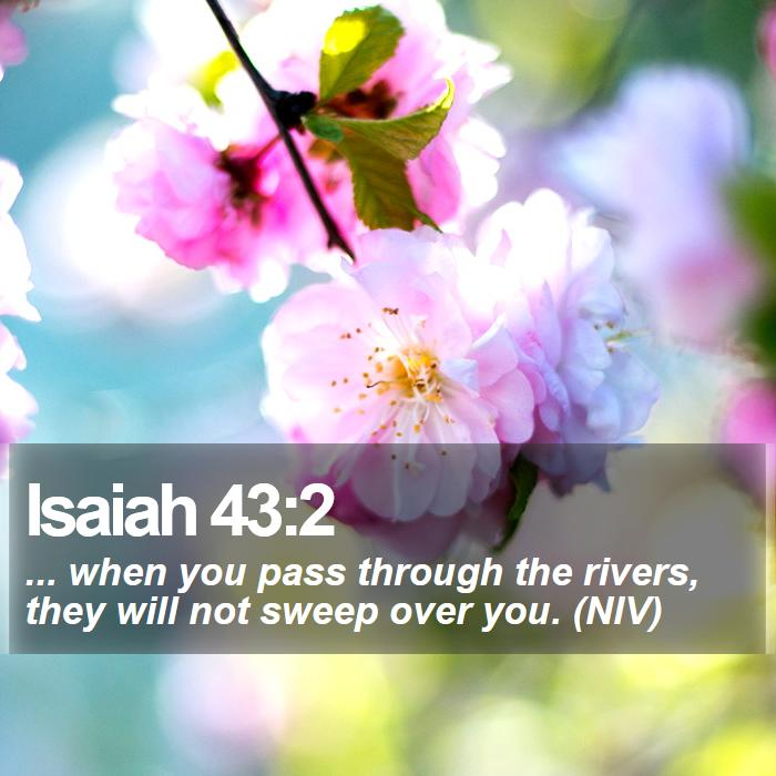 Isaiah 43:2 - ... when you pass through the rivers, they will not sweep over you. (NIV)