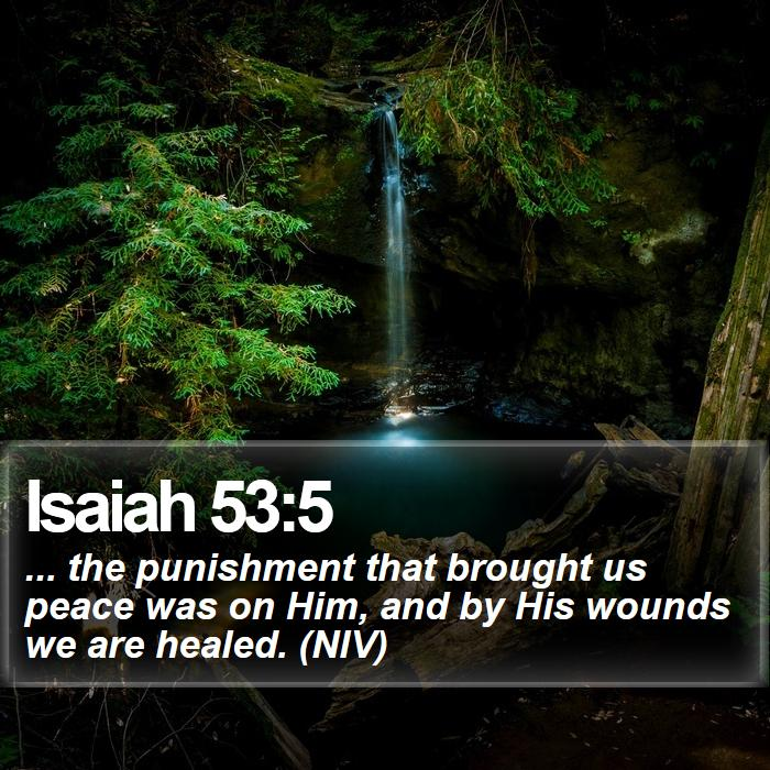Isaiah 53:5 - ... the punishment that brought us peace was on Him, and by His wounds we are healed. (NIV)