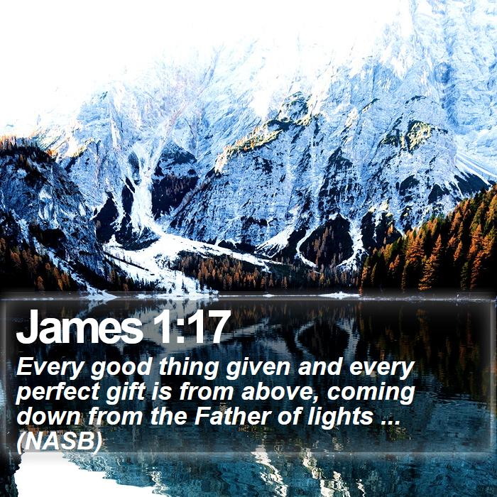 James 1:17 - Every good thing given and every perfect gift is from above, coming down from the Father of lights ... (NASB)