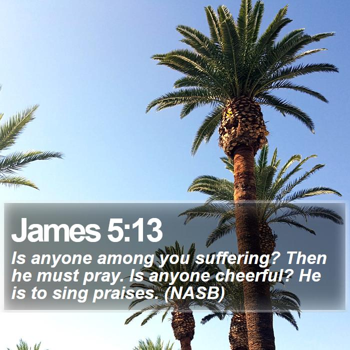 James 5:13 - Is anyone among you suffering? Then he must pray. Is anyone cheerful? He is to sing praises. (NASB)