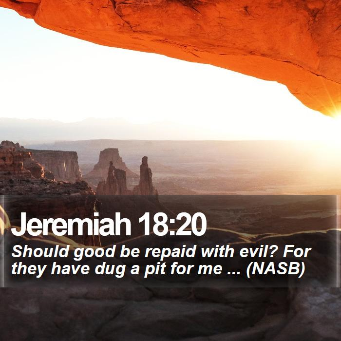 Jeremiah 18:20 - Should good be repaid with evil? For they have dug a pit for me ... (NASB)
