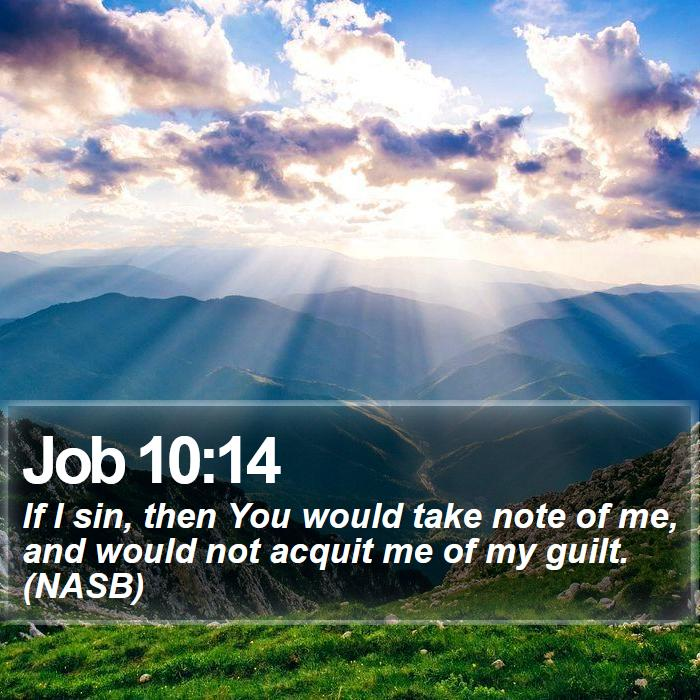 Job 10:14 - If I sin, then You would take note of me, and would not acquit me of my guilt. (NASB)