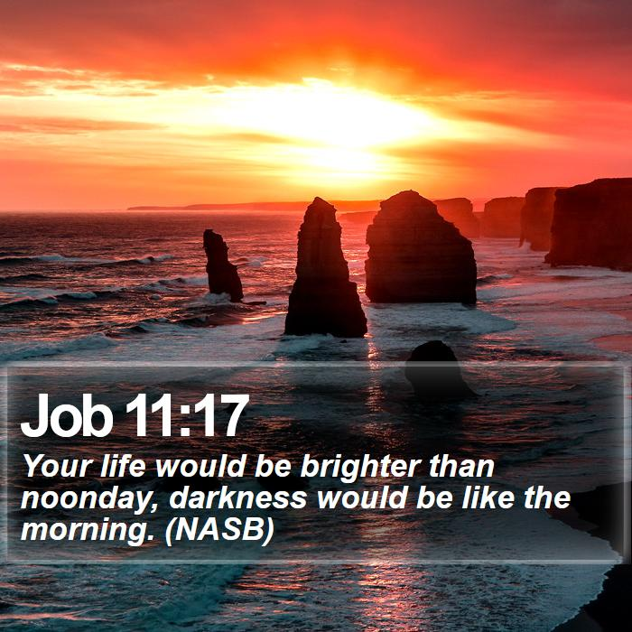 Job 11:17 - Your life would be brighter than noonday, darkness would be like the morning. (NASB)