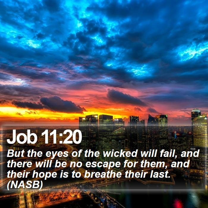 Job 11:20 - But the eyes of the wicked will fail, and there will be no escape for them, and their hope is to breathe their last. (NASB)