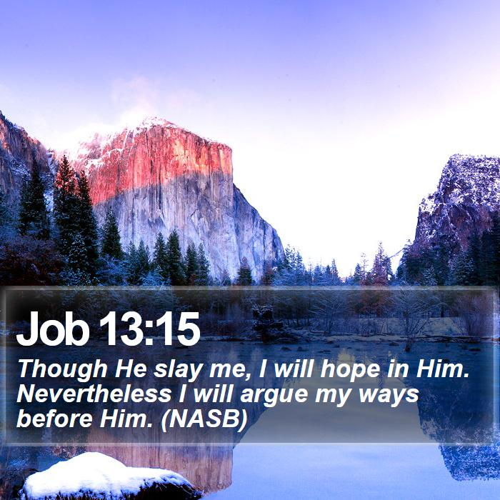 Job 13:15 - Though He slay me, I will hope in Him. Nevertheless I will argue my ways before Him. (NASB)