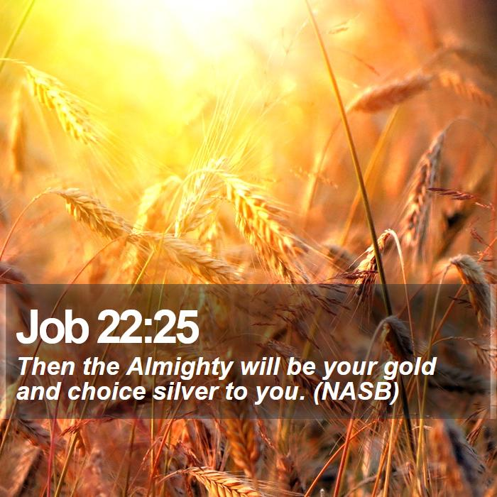 Job 22:25 - Then the Almighty will be your gold and choice silver to you. (NASB)