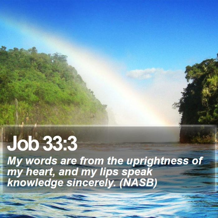 Job 33:3 - My words are from the uprightness of my heart, and my lips speak knowledge sincerely. (NASB)