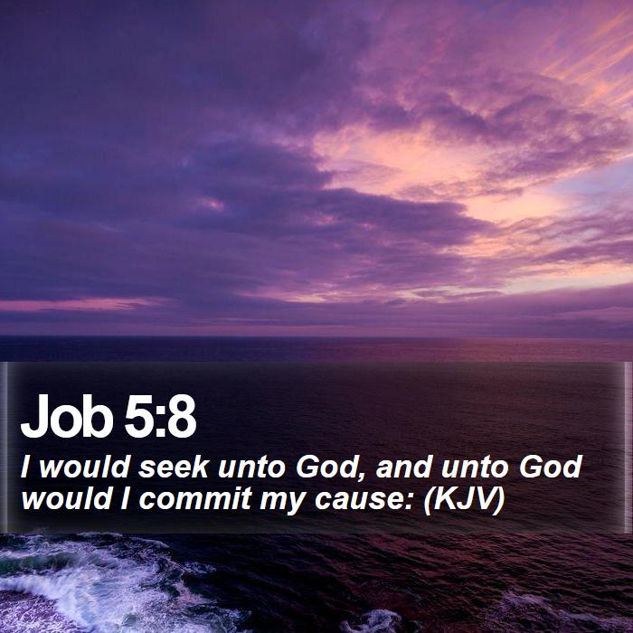 Job 5:8 - I would seek unto God, and unto God would I commit my cause: (KJV)