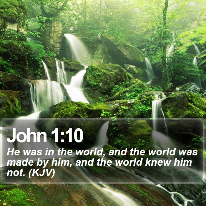 John 1:10 - He was in the world, and the world was made by him, and the world knew him not. (KJV)
