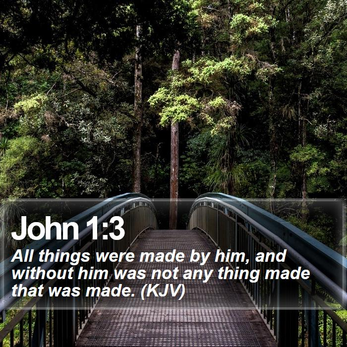 John 1:3 - All things were made by him, and without him was not any thing made that was made. (KJV)