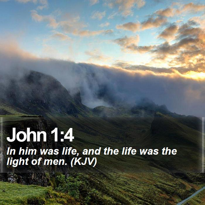 John 1:4 - In him was life, and the life was the light of men. (KJV)