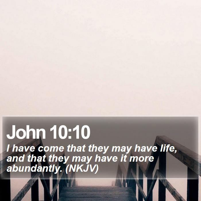John 10:10 - I have come that they may have life, and that they may have it more abundantly. (NKJV)