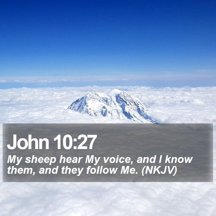 John 10:27 - My sheep hear My voice, and I know them, and they follow Me. (NKJV)