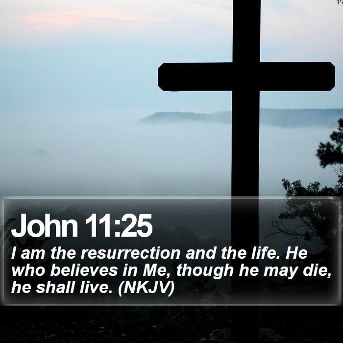 John 11:25 - I am the resurrection and the life. He who believes in Me, though he may die, he shall live. (NKJV)