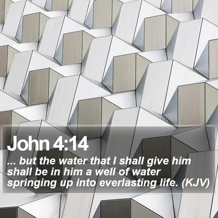 John 4:14 - ... but the water that I shall give him shall be in him a well of water springing up into everlasting life. (KJV)