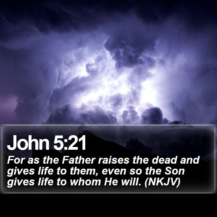John 5:21 - For as the Father raises the dead and gives life to them, even so the Son gives life to whom He will. (NKJV)