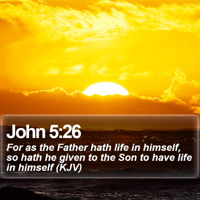 John 5:26 - For as the Father hath life in himself, so hath he given to the Son to have life in himself (KJV)