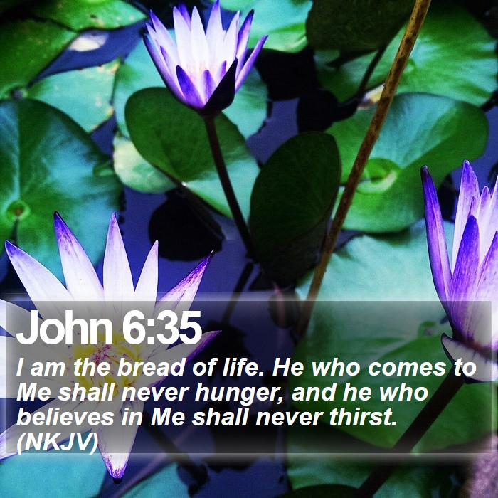 John 6:35 - I am the bread of life. He who comes to Me shall never hunger, and he who believes in Me shall never thirst. (NKJV)