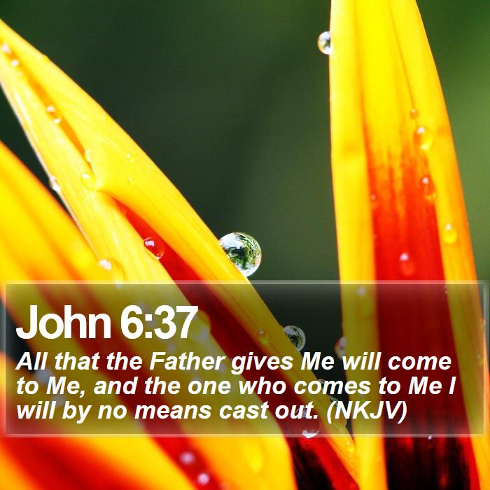 John 6:37 - All that the Father gives Me will come to Me, and the one who comes to Me I will by no means cast out. (NKJV)