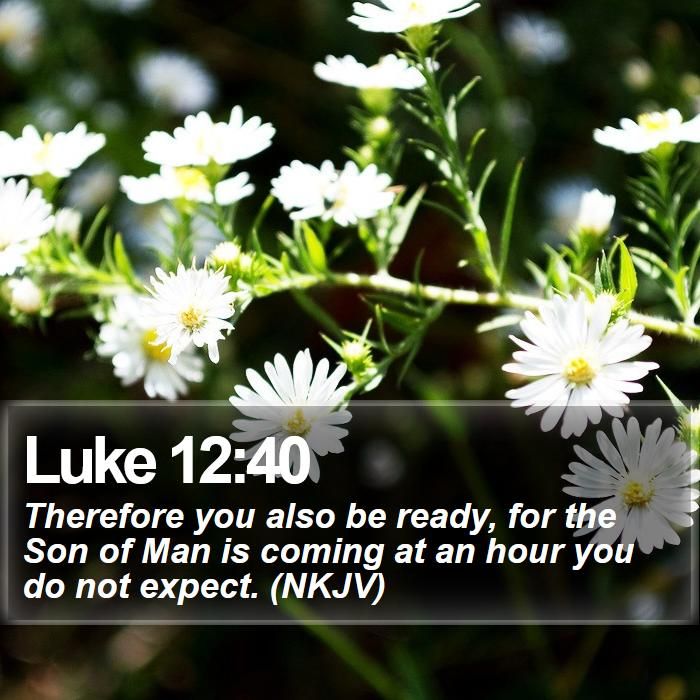Luke 12:40 - Therefore you also be ready, for the Son of Man is coming at an hour you do not expect. (NKJV)