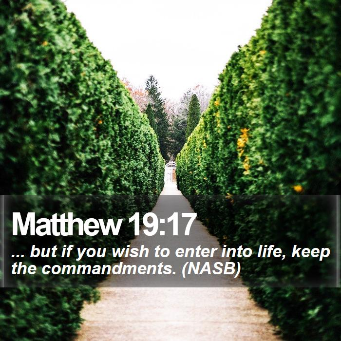 Matthew 19:17 - ... but if you wish to enter into life, keep the commandments. (NASB)